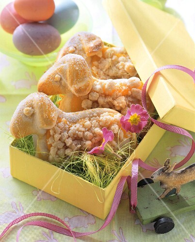 Easter lambs in yeast dough in gift box
