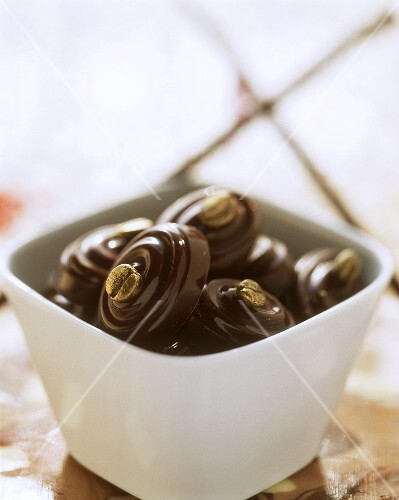 Mocha chocolates in white bowl