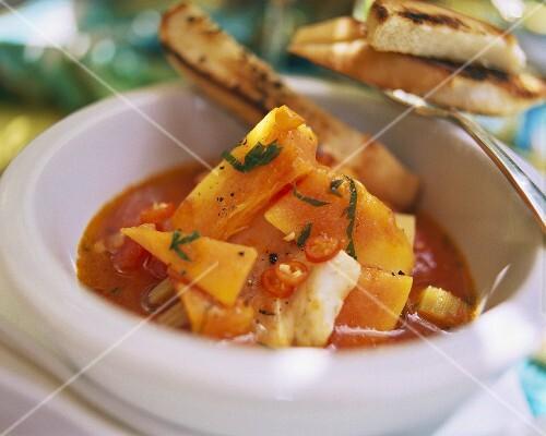 Fish soup with papaya from Bermuda