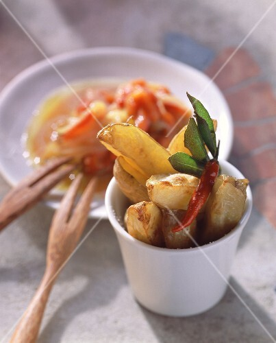 Baked potato wedges with onions and peppers
