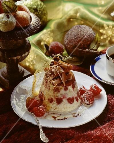 Tiramisu parfait with raspberries and sugar threads