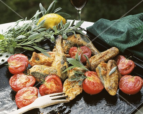 Oven-cooked chicken with sage and tomatoes