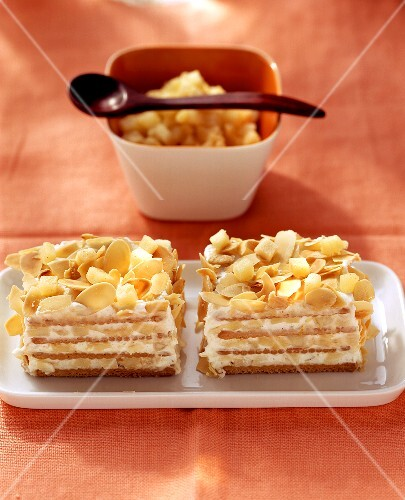 Apple and biscuit cake with flaked almonds