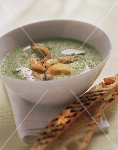 Cold cucumber soup with smoked salmon and sour cream
