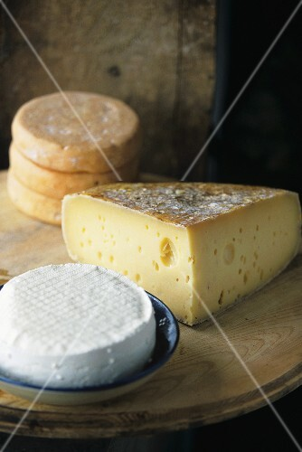 French soft cheese, cheese with holes and Munster cheese