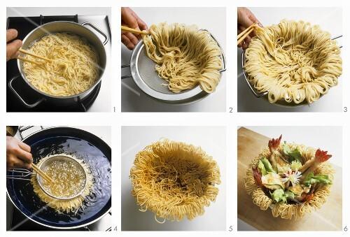 Making deep-fried noodle nests