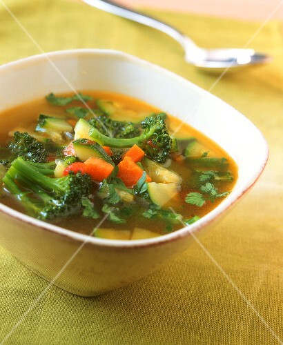 Vegetable soup in a ceramic bowl