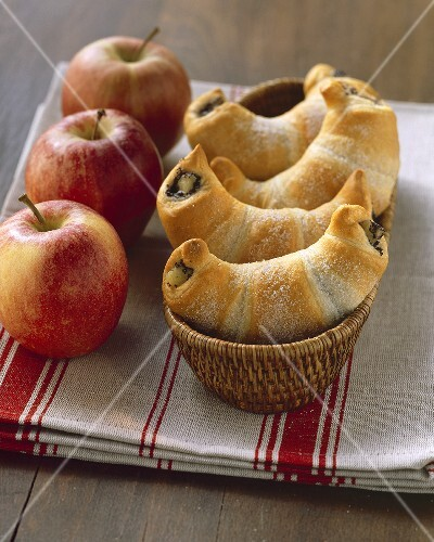 Sweet croissants with poppy seed and apple filling