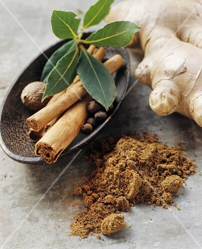 Indian garam masala and ingredients