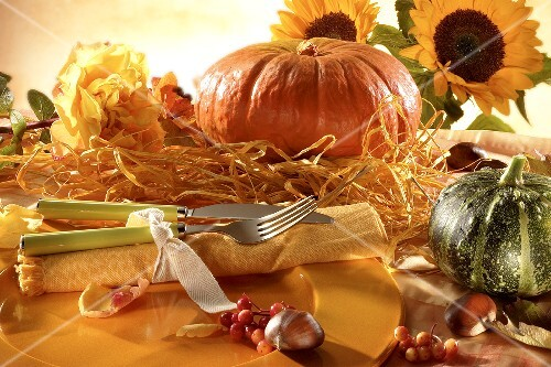 Place-setting in warm orange shades with autumn decorations