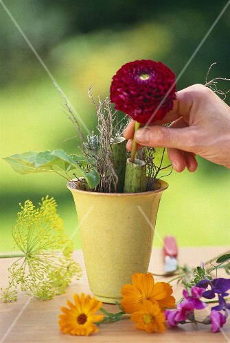Flower arranging: the first stage