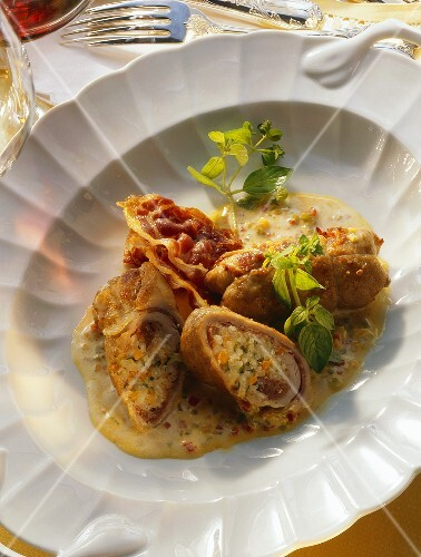 Veal roulades stuffed with vegetable risotto & Parma ham