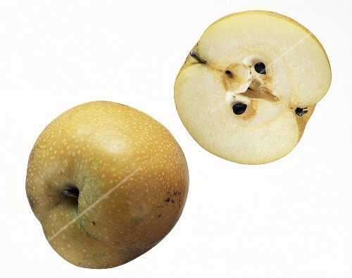 A whole and a half nashi fruit
