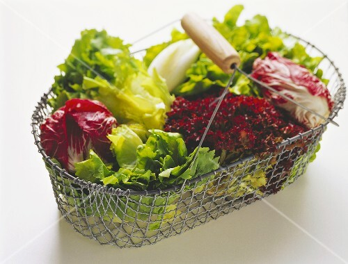 Several lettuces in a wire basket