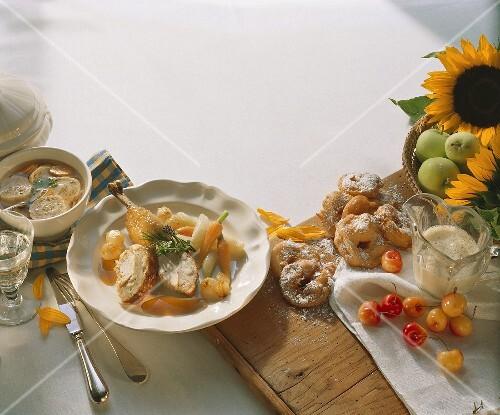 Harvest Festival menu: meat soup, chicken & apple fritters