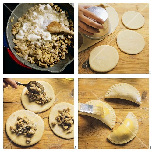 Making Polish pierogi with meat and mushroom filling