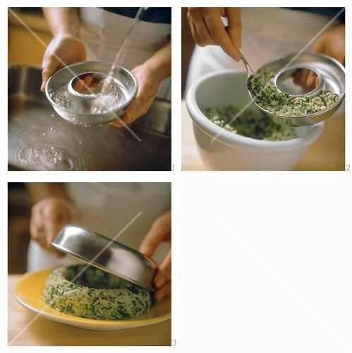 Making rice ring with peas and herbs