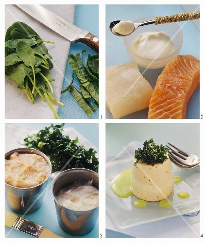 Making fish timbales with spinach and wasabi dip