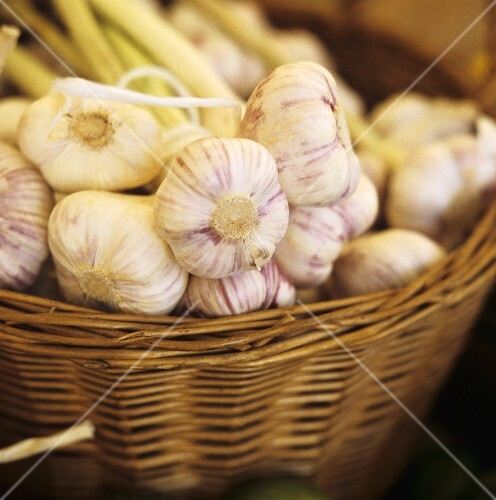 Fresh garlic in basket