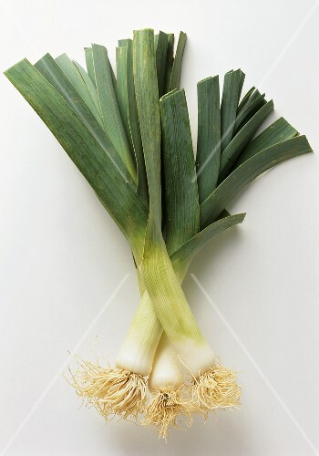 Three leeks with roots