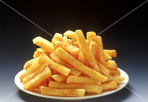 Thick chips on white plate