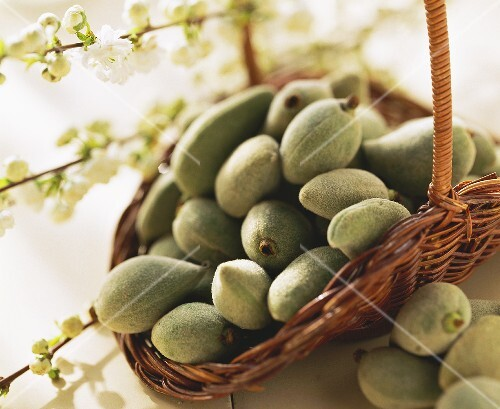 Almonds in basket in front of sprigs of almond blossom
