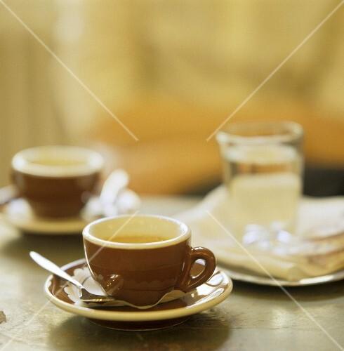 Espresso Cups; Water