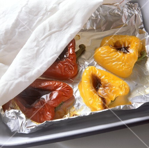 Roasting peppers in foil