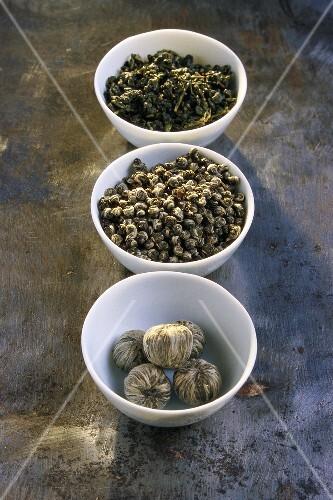 Three types of Chinese tea (dry)