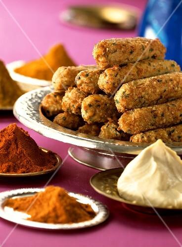 Arab falafel with yoghurt dip; spices