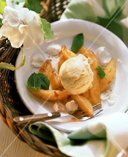Vanilla ice cream with fried apple wedges