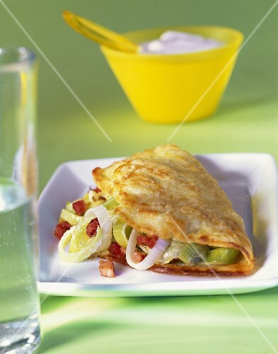 Omelette with leeks and bacon