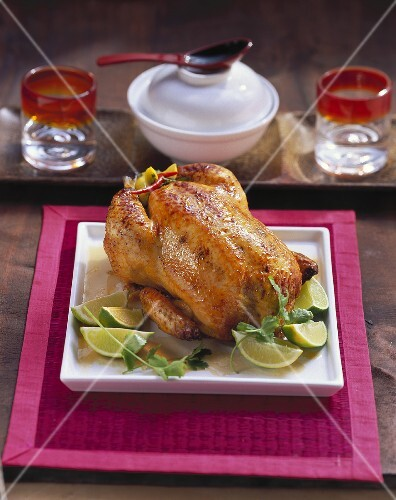 Stuffed chicken with limes