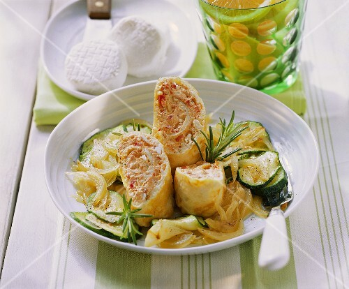 Filled cheese omelette with courgette salad