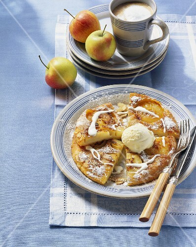 Apple pancake with vanilla ice cream; coffee