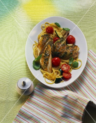 Chicken with herbs, ribbon pasta, cherry tomatoes & basil
