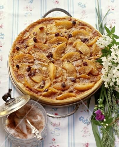 Apple cake with raisins and cinnamon sugar from Switzerland