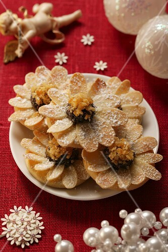 Christmassy almond biscuits on plate