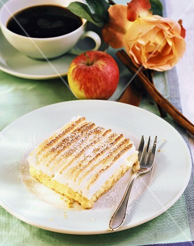 Cinnamon apple slice, cup of coffee