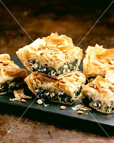 Filo pastry with spinach and cheese filling