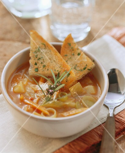 Minestrone primavera (Vegetable soup with toast, Italy)