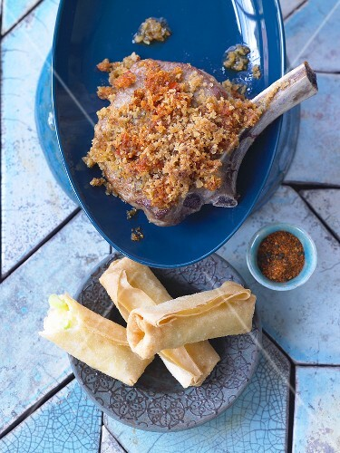 Veal with miso and mustard crust and spring rolls