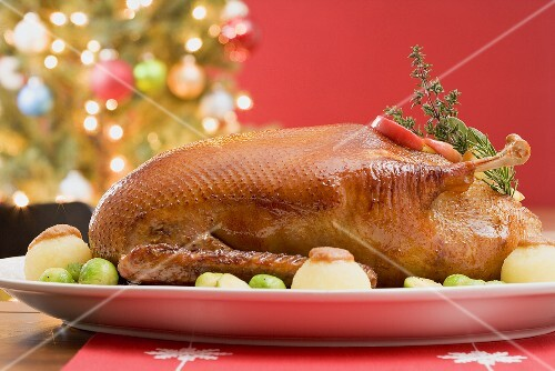 Roast duck with dumplings & Brussels sprouts (Christmas)