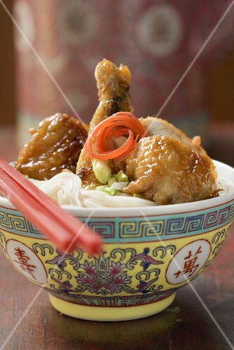 Chicken leg on rice noodles (Asia)