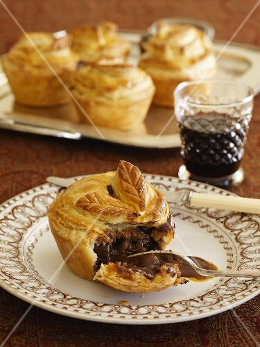 Venison pies and a glass of red wine