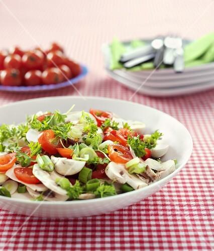 Tomato and mushroom salad with leeks and parsley