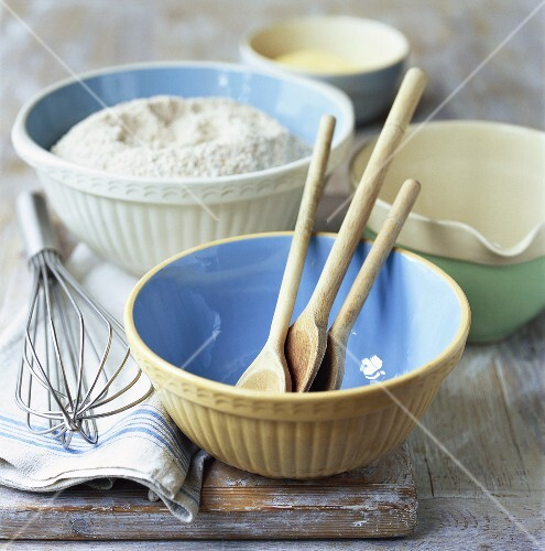Baking bowls, jug, wooden spoons, whisk