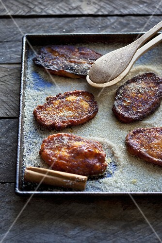 Pumpkin fritters with cinnamon sugar (South Africa)