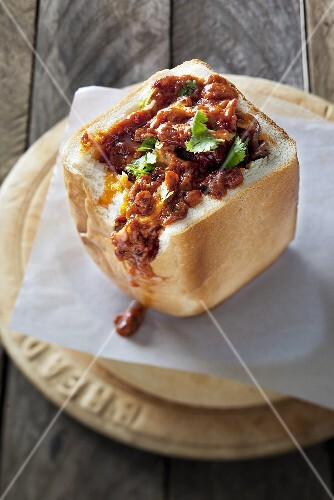 Bunny chow (Hollowed-out white loaf filled with curry, South Africa)