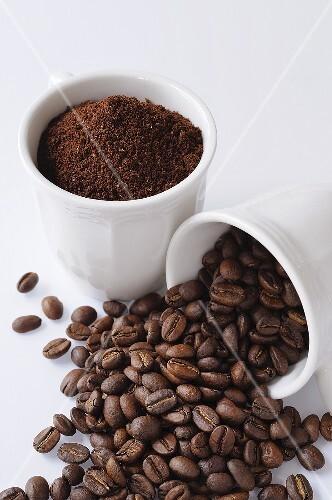 kaffeepulver und kaffeebohnen bild kaufen 274941 stockfood. Black Bedroom Furniture Sets. Home Design Ideas